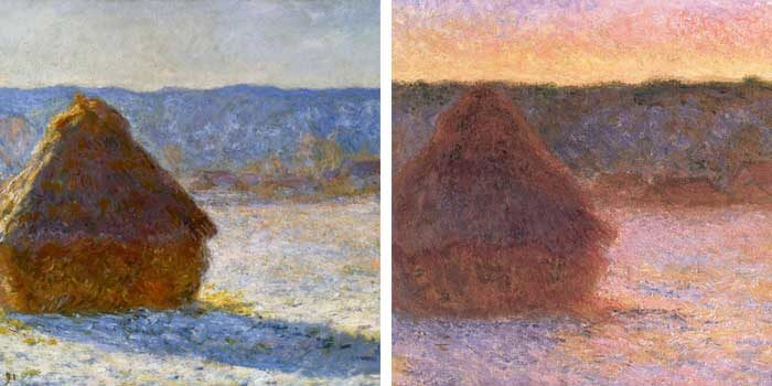 Claude Monet - Haystacks Under Different Light Sources