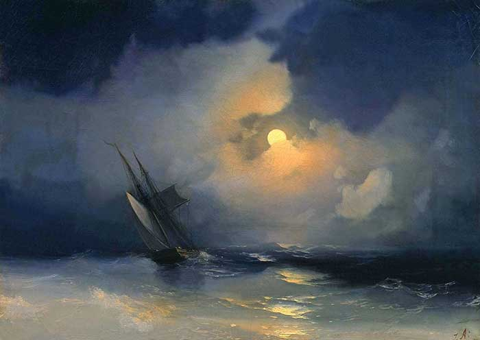 Ivan Aivazovsky, Storm At Sea On A Moonlit Night