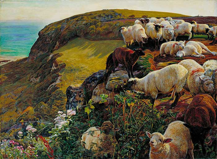 William Holman Hunt, Our English Coasts, 1852 ('Strayed Sheep')