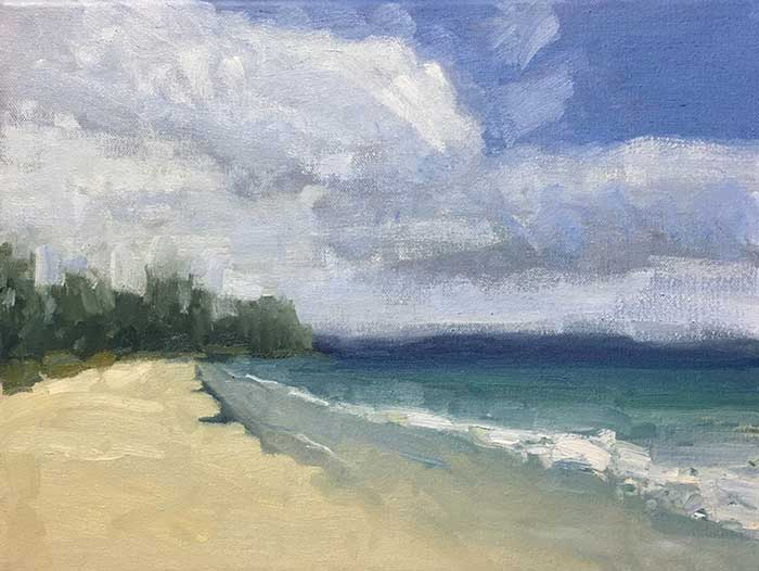 9. Detail, Simple Seascape Painting Tutorial