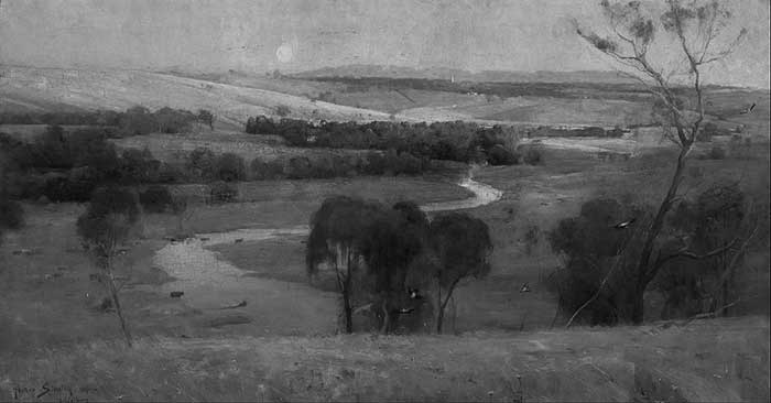 Arthur Streeton, Still Glides The Stream, And Shall For Ever Glide, 1890 Grayscale