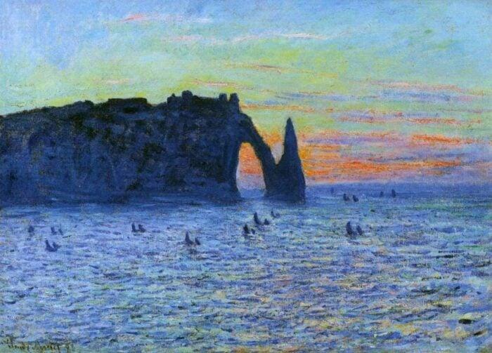 Claude Monet, Etretat, the cliff and the Porte d Aval Sunset, 1883