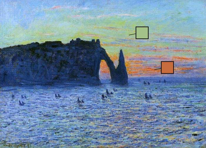 Claude Monet, Etretat, the cliff and the Porte d Aval Sunset, 1883