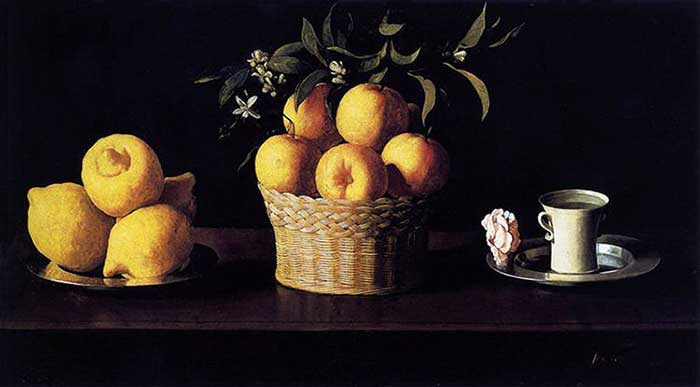 Francisco de Zurbaran, Still Life with Lemons, Oranges And A Rose, 1633