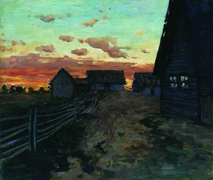 Isaac Levitan, Huts After Sunset, 1899