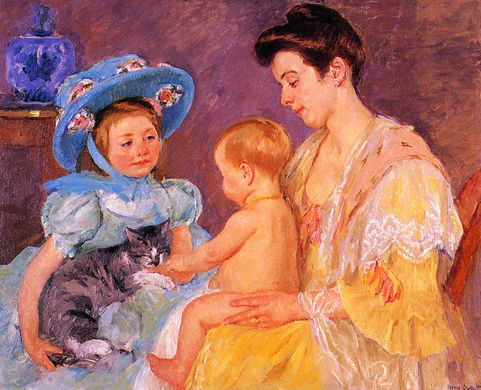Mary Cassatt, Children Playing With A Cat, 1908