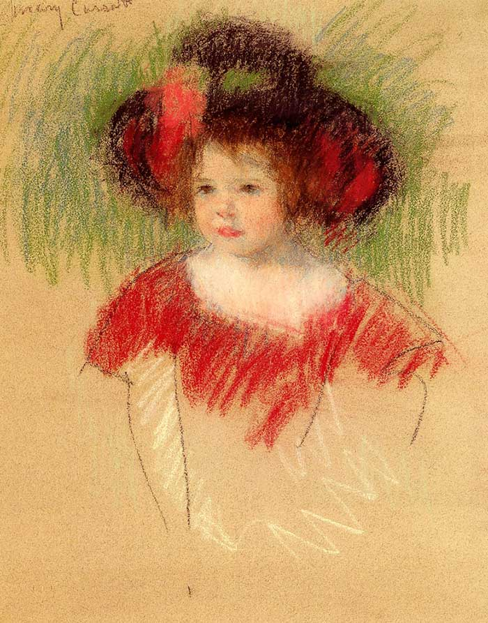 Mary Cassatt, Margot In Big Bonnett And Red Dress