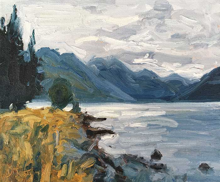 Gloomy Day In New Zealand, Oil, 10x12 Inches, 2017