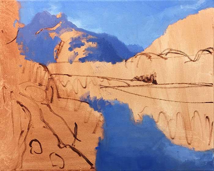 Painting Tutorial - New Zealand River - Progress Shot Sky, Water