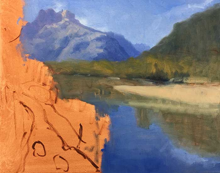 Painting Tutorial - New Zealand River - Progress Shot Sky, Water, Greens