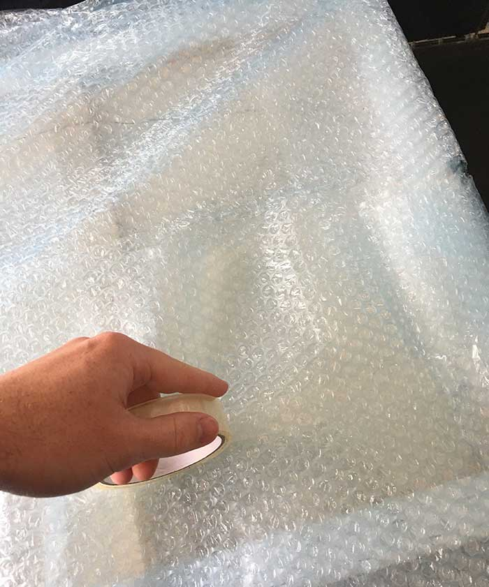 Bubble wrap to protect the painting