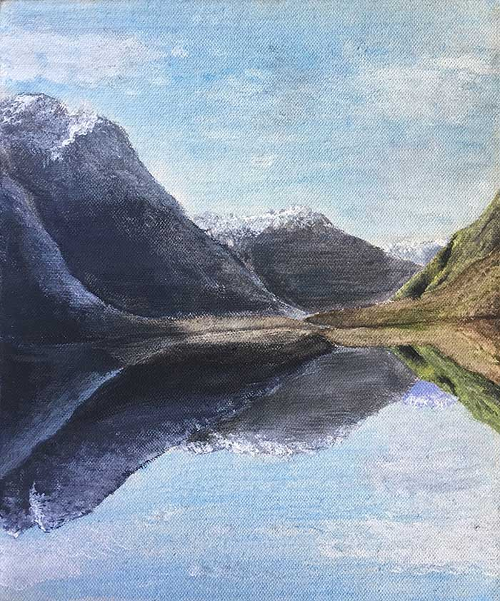 Dan Scott, Early Painting - Mountain Reflection