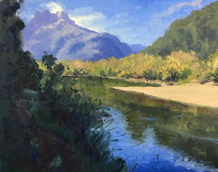 Painting Tutorial - New Zealand River - Progress Shot