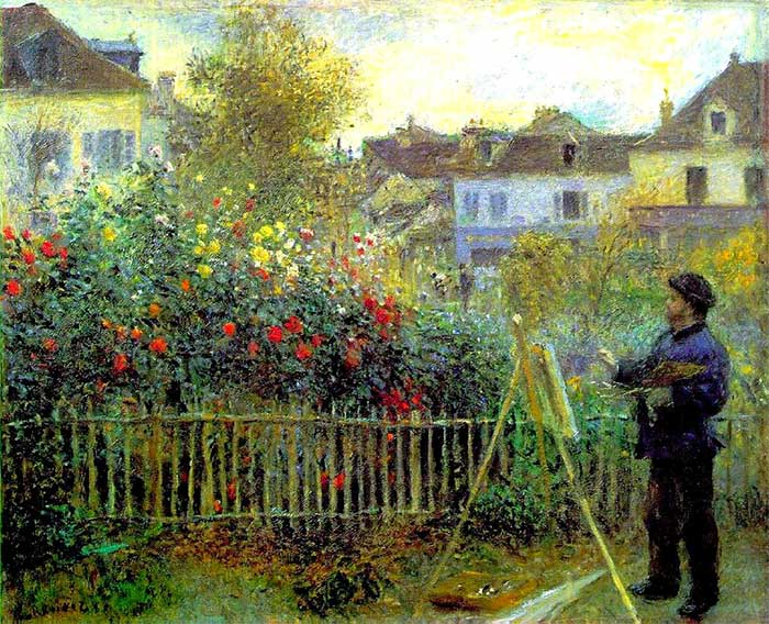 Pierre Auguste Renoir Monet Painting In His Garden At Argenteuil 1873