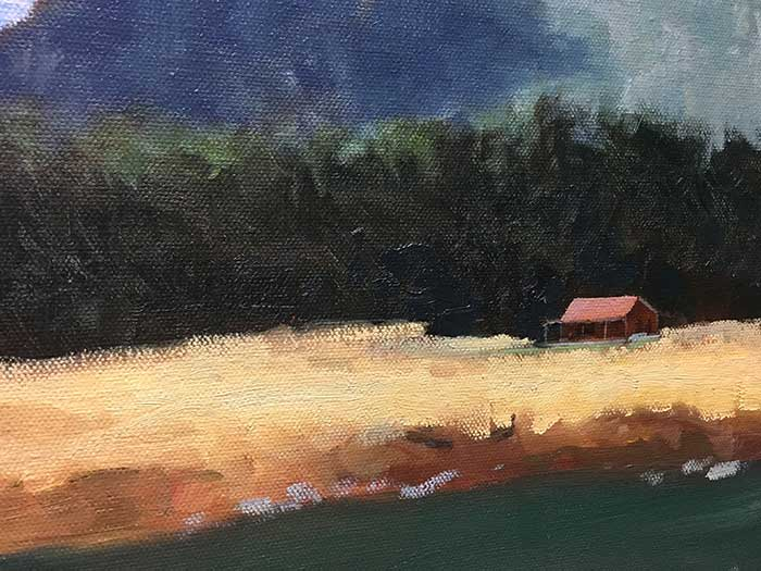 Painting Tutorial - New Zealand With A Red House - Close Up