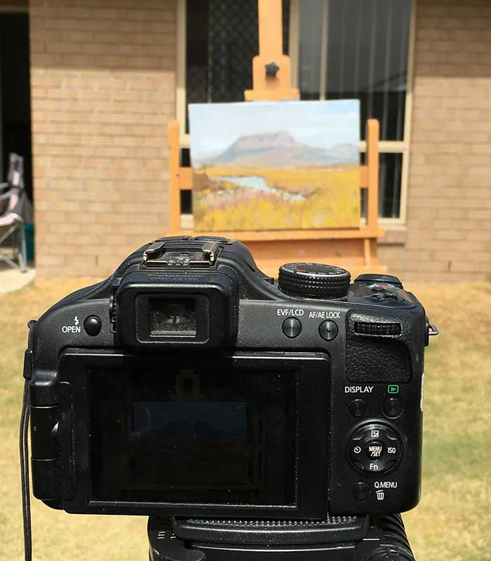 How To Photograph Your Art - Lining up the shot on my Overland Track painting