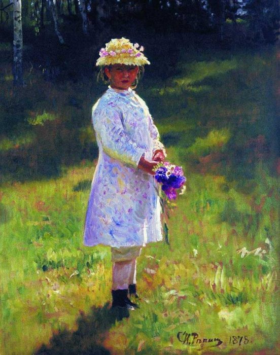 Ilya Repin, Girl With Flowers, Daughter Of The Artist, 1878