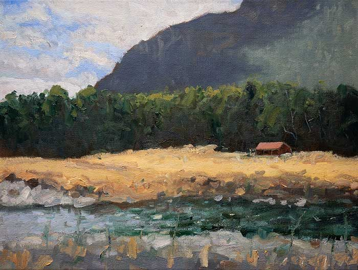 New Zealand, Red House, Oil, 12x16 Inches