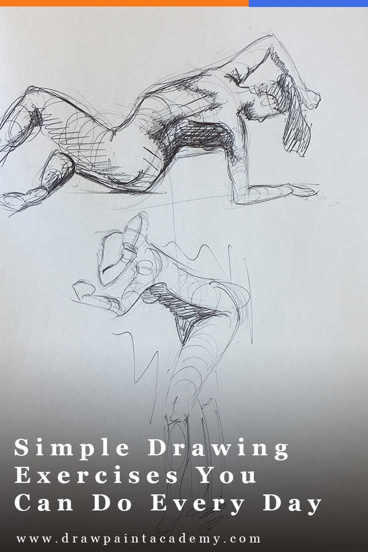 Simple Drawing Exercises You Can Do Every Day. In this post I discuss some other simple drawing exercises which you can do every day, no matter what your skill level is. These exercises do not require much time or resources, but you will improve if you stick to doing them regularly. #drawpaintacademy