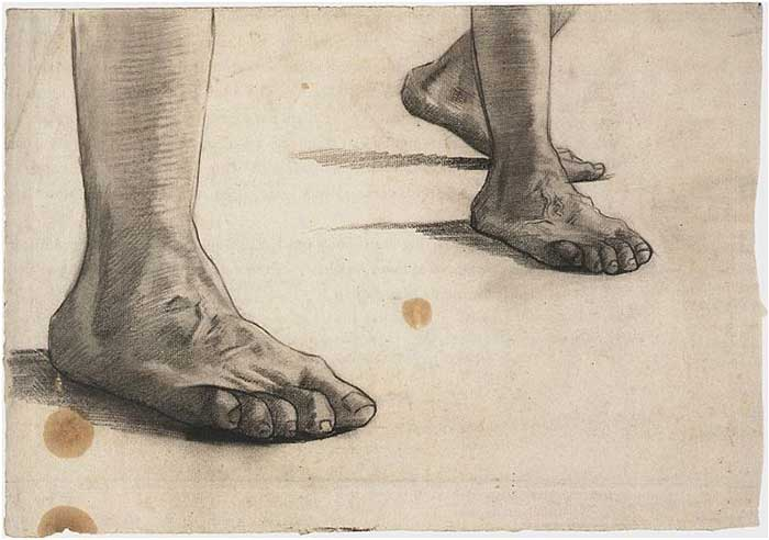 Vincent van Gogh, Feet, 1886-87. Foot Drawing Exercise