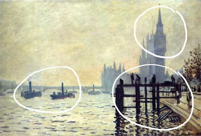 Claude Monet, The Thames Below Westminster, 1871 - Focal Points