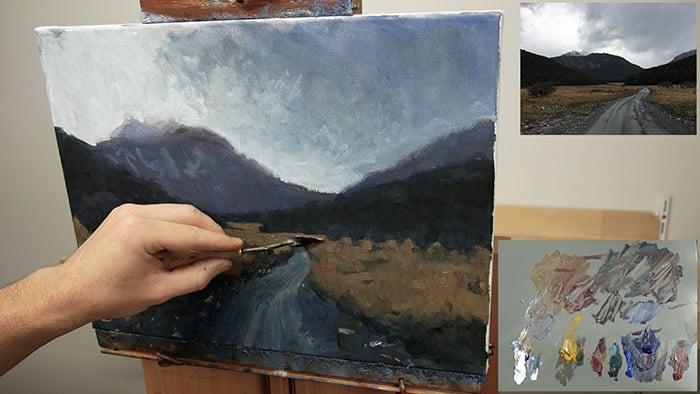 Palette Knife Painting - Tasmania Overcast Day