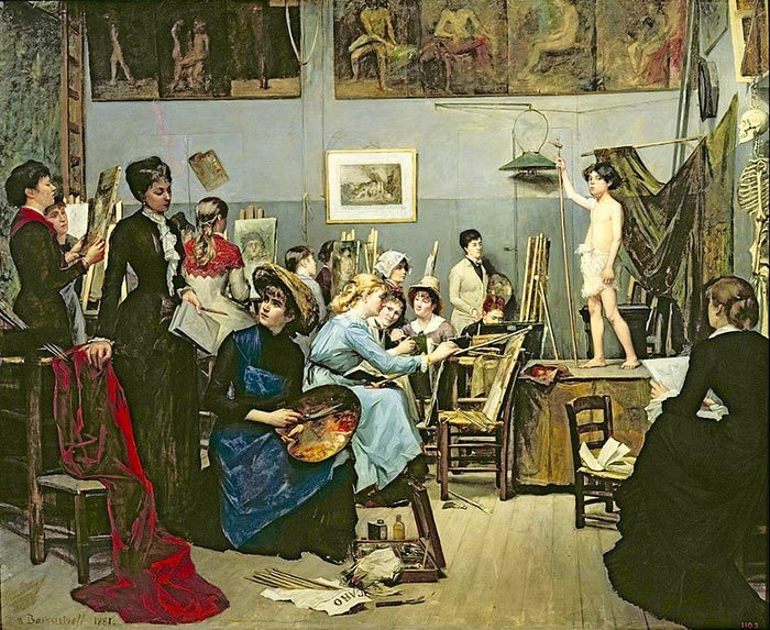 Marie Bashkirtseff, Robert-Fleury's Atelier at Académie Julian for female art students, 1881