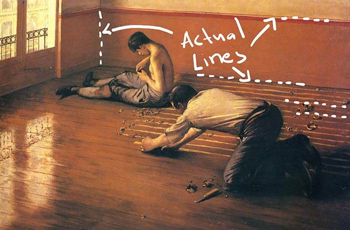 Gustave Caillebotte, The Parquet Planers, 1876 - Actual Lines