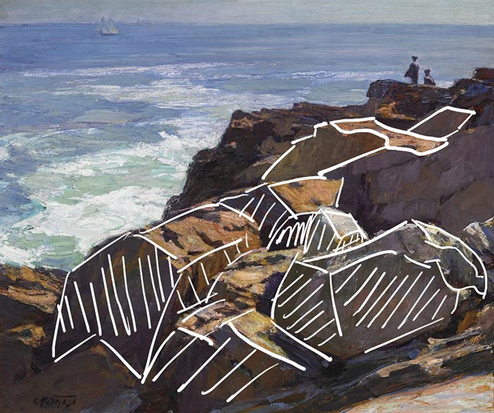 Edward Potthast, Rockbound Coast, Ogunquit, Basic Forms