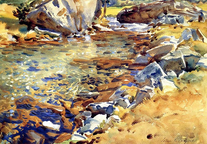 John Singer Sargent, Brook Among the Rocks, 1907