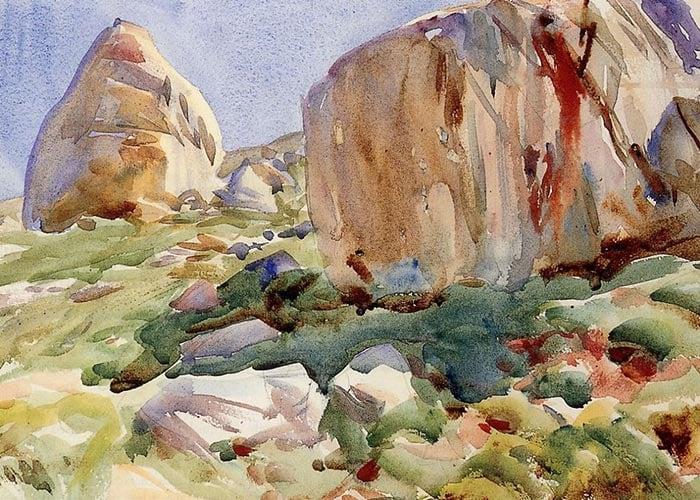 John Singer Sargent, Simplon. Large Rocks