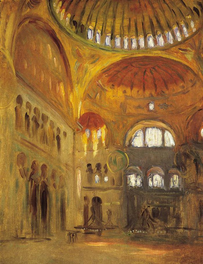 John Singer Sargent, The Interior of Hagia Sophia in Constantinople, 1891