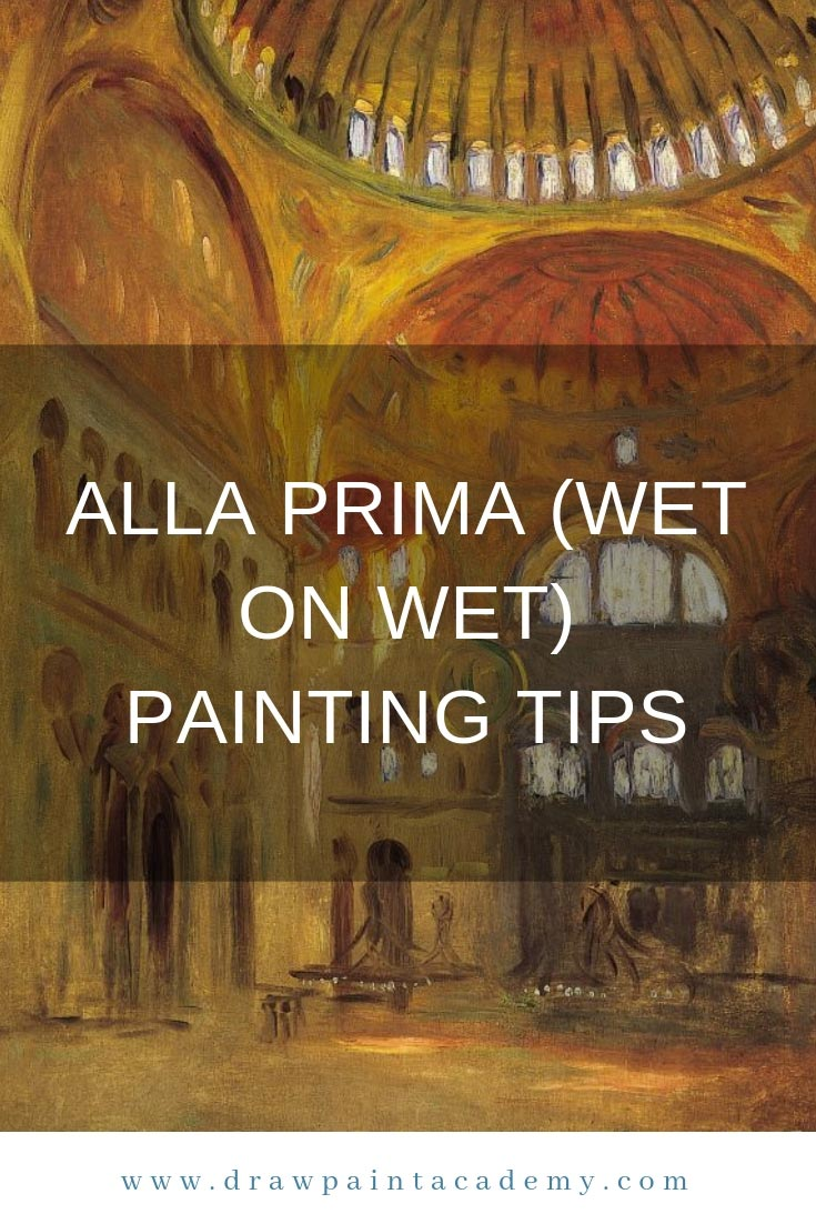 Alla prima refers to a direct approach to painting where paint is applied wet on wet without letting earlier layers dry. In Italian it means