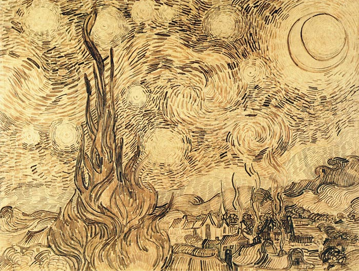 Vincent van Gogh, Starry Night (Drawing), 1889