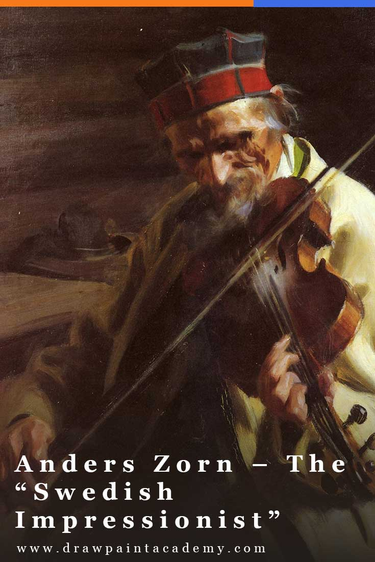 Anders Zorn was a remarkable Swedish painter known mostly for his nude female portraits painted with virtuoso brushwork and luminous colors. He is often referred to as the
