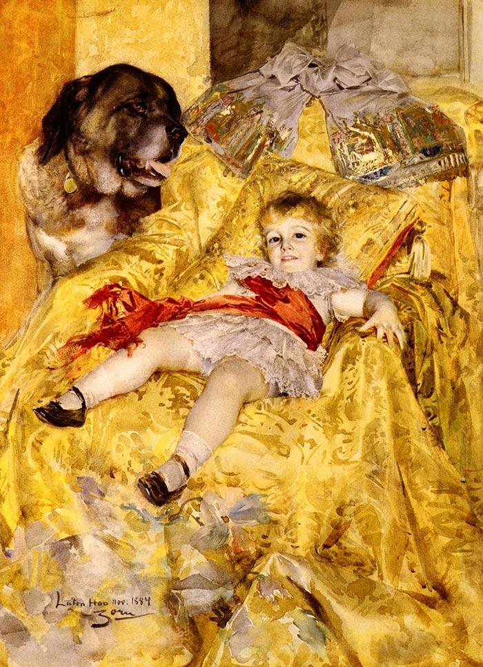 Anders Zorn, una niña con un perro, 1884