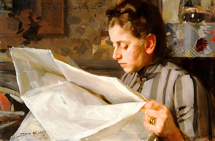 Anders Zorn, Emma Zorn Reading, 1887