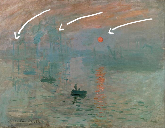 Claude Monet, Impression, Sunrise, 1872 - Movement in the Sky