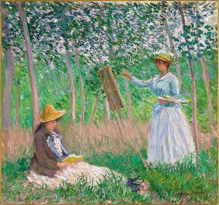 Claude Monet, In the Woods at Giverny, Blanche Hoschedé at Her Easel with Suzanne Hoschedé Reading, 1887