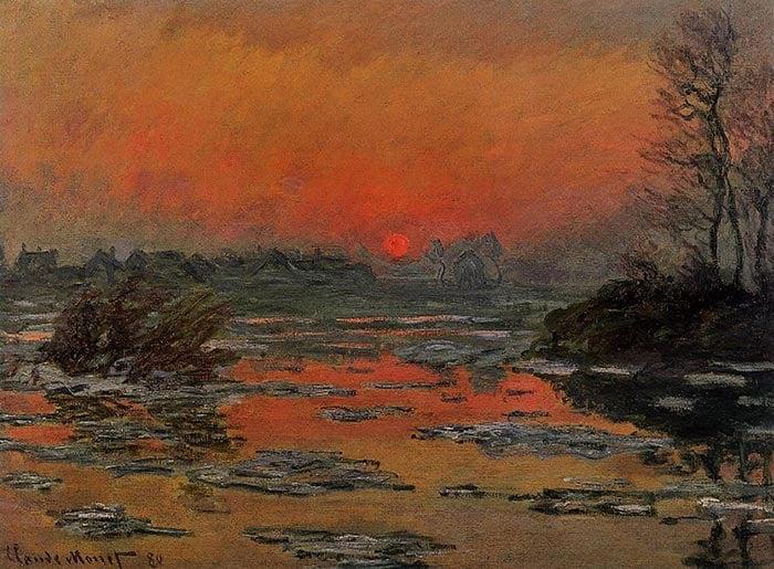 Claude Monet, puesta de sol en el Sena en invierno, 1880