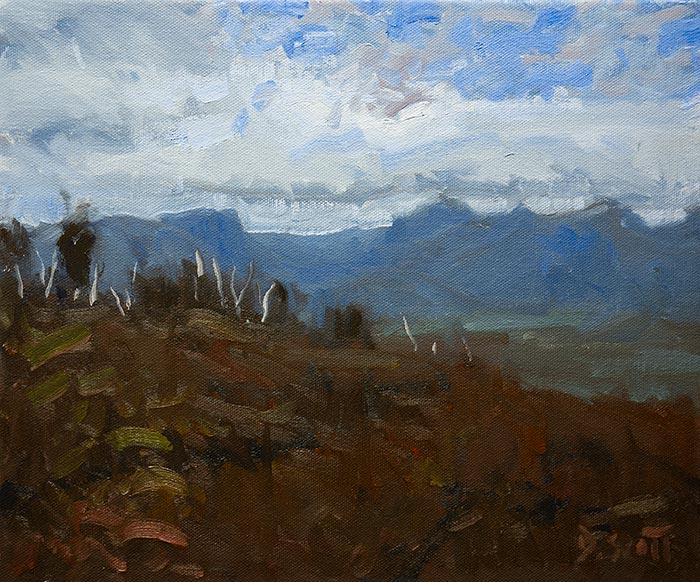 Dan Scott, Overland Track, Tasmania, Speed Painting with Limited Palette, 10x11 Inches, 2019, 700W Web