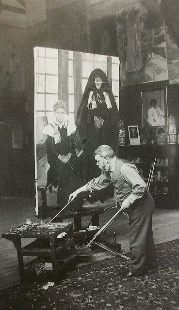 Joaquín Sorolla Painting in the Studio