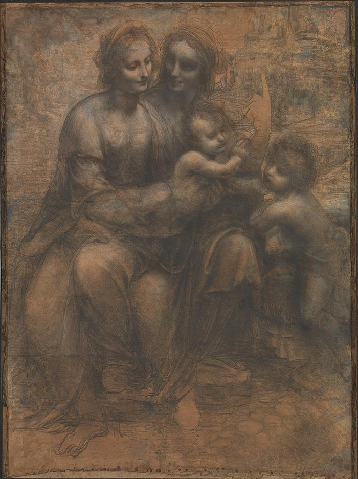 Leonardo da Vinci, Virgin and Child with St Anne and John the Baptist, c.1500 CE