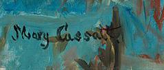 Mary Cassatt, Little Girl in a Blue Armchair, 1878 - Signature
