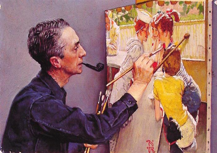 Norman Rockwell, Portrait of Norman Rockwell Painting the Soda Jerk, 1953