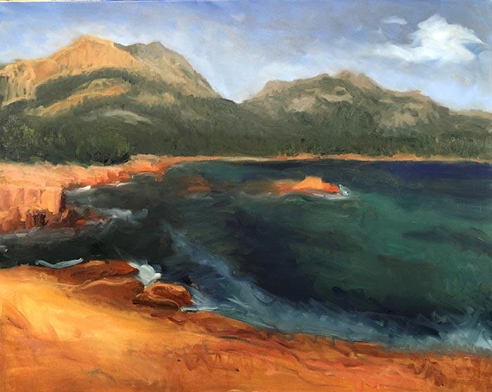 Painting Honeymoon Bay, Tasmania (10)
