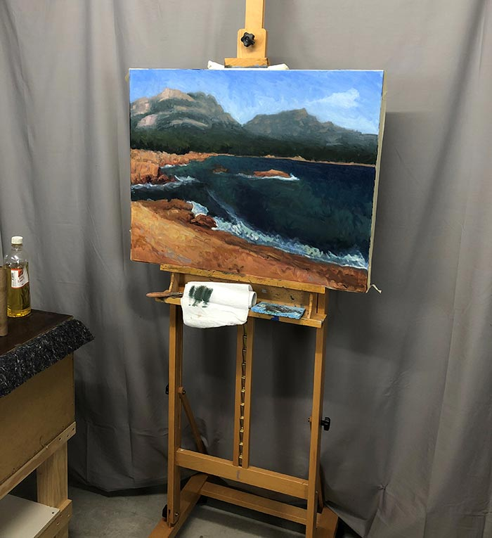 Painting Honeymoon Bay, Tasmania (12)