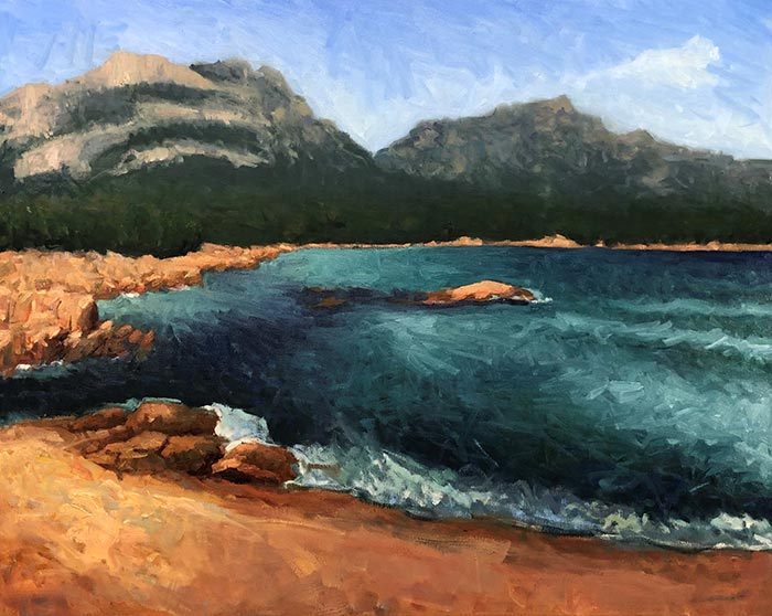Painting Honeymoon Bay, Tasmania (14)
