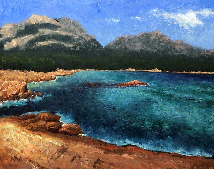Painting Honeymoon Bay, Tasmania (16)