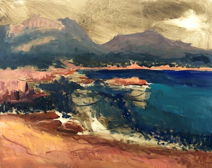 Painting Honeymoon Bay, Tasmania (6)